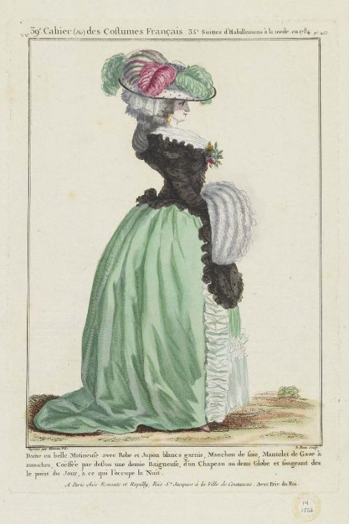 "Gallerie des Modes, 1784.  ""Dame en belle matineuse"" What a beautiful profile!"