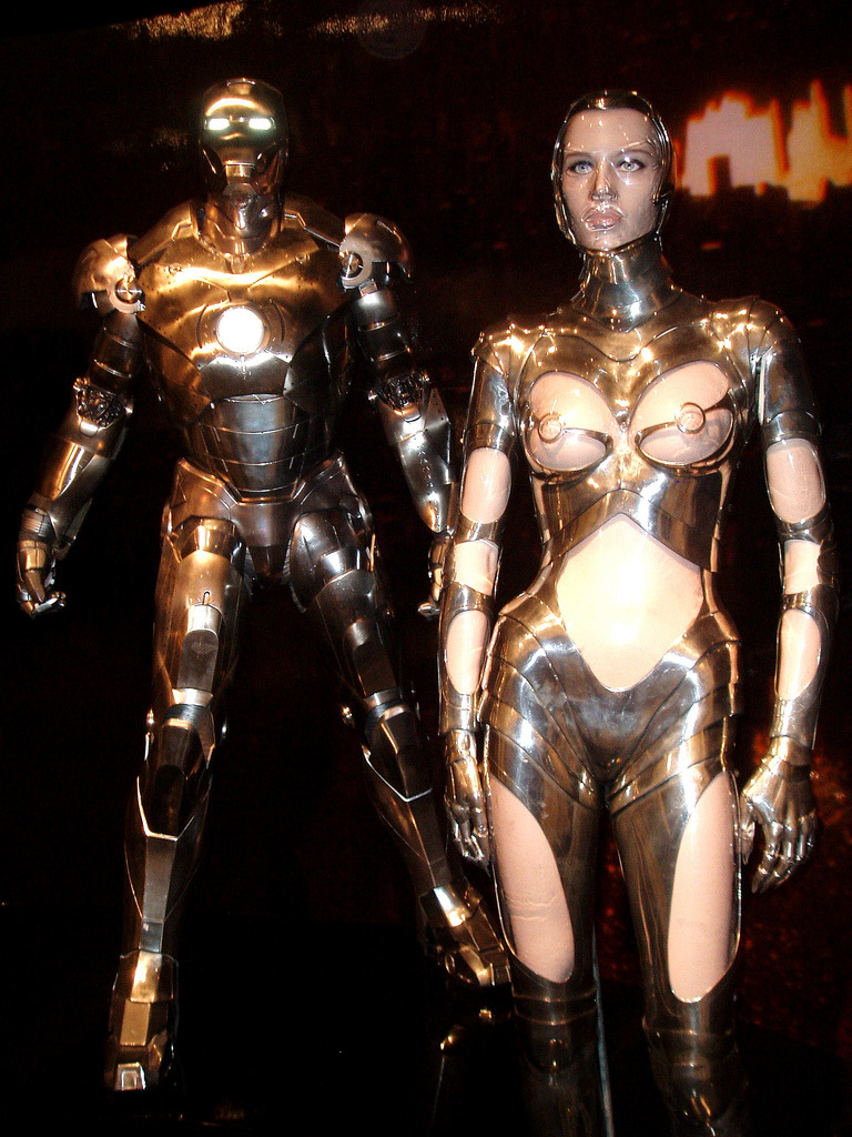 "Thierry Mugler's robot body suit on display at the 2008 Met ""Superheroes: Fashion and Fantasy"" exhibit in the ""Iron Body"" section."