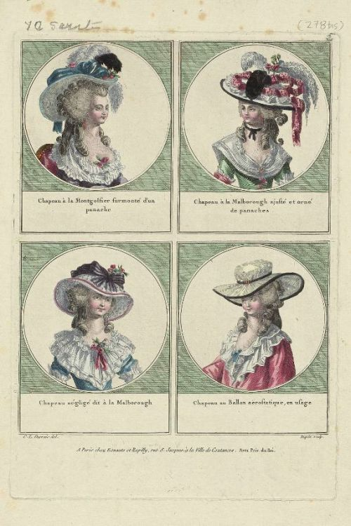 Gallerie des Modes, 1785.   Best hats ever!