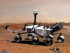 Five Things About NASA's Mars Curiosity Rover It's pretty cute. Curiosity is bigger than its sisters, Spirit and Opportunity. It's the size of a mini cooper and comes equipped with ten science instruments, including a laser. (Perhaps attached to its head?) The wheels are really neat. They all have independent drive motors and the two in front and back have individual steering motors. Need to make a 360 degree turn in place? No problem.