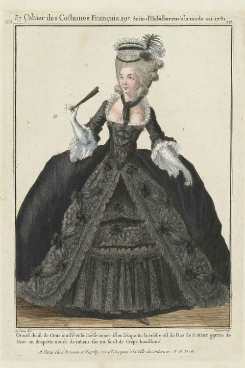 "Gallerie des Modes, 1781.  ""Grand deuil de cour"" This gown reminds me of something a friend of mine would wear.  A big explosion of glorious black fabric."