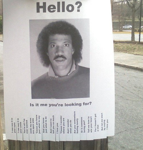 "curator-of-curiosities:  Lionel Ritchie is missing in the Bay area! From the Bay Citizen: Someone took it upon themselves to start a Facebook fan page called ""Lionel Richie's Clay Head"" (Guess what their profile pic is. GUESS.) and has been posting related materials since April 2010. The account has 7,462 fans (among whom this writer can be counted) and this morning they posted the item above, which may be the finest piece of street art we've ever seen."