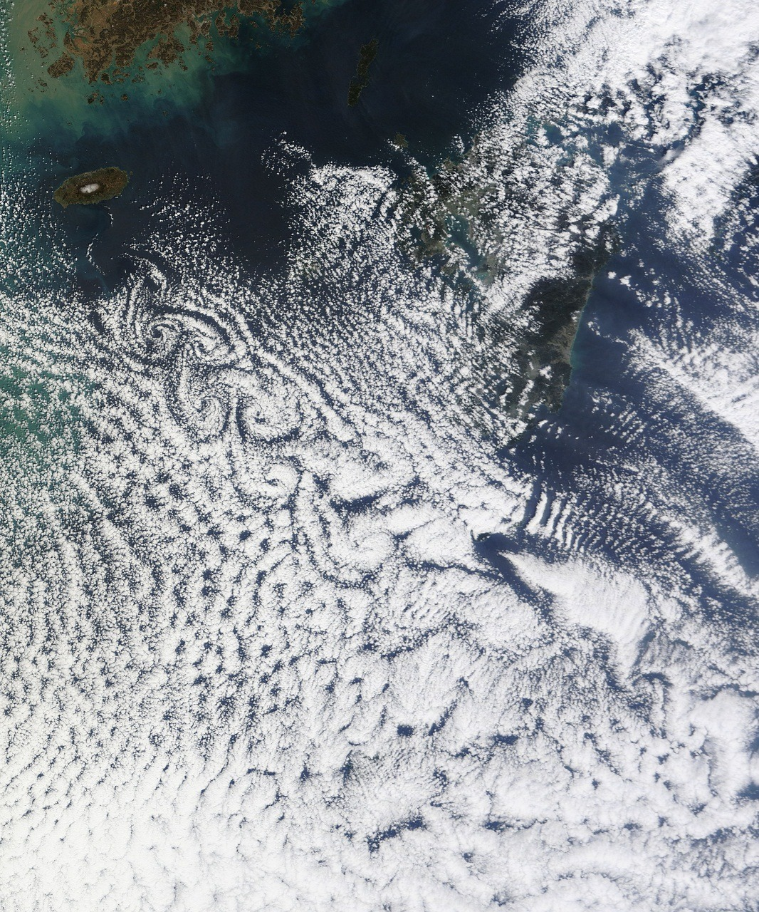 Cheju Do Cloud vortices off Cheju Do, South Korea. Image captured by NASA's Terra satellite in March 3, 2011 at 02:35 UTC.
