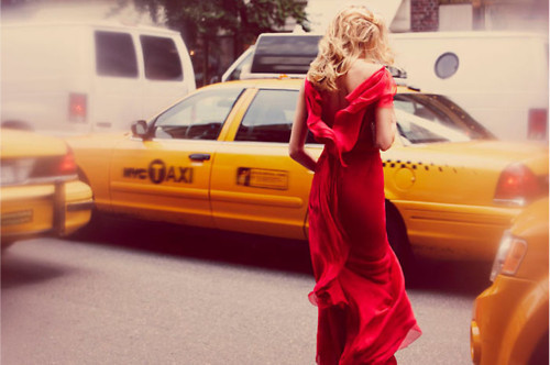 Traffic stopping red dress.