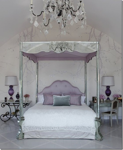 Love the soft, feminine colour story in this bedroom.  The mirrored bed is over the top…and I imagine myself kicking the four posters and stubbing my toe.