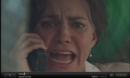 Look at her, freaking out as her daughter is being murdered on the phone - perfectly unaware of how horrible, yet entirely engaging, the thriller she's in is.