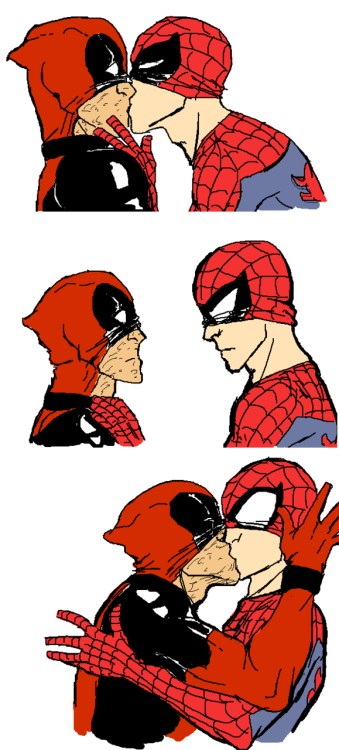 blob-nudelius-beefo:  This was shamelessly copied from a Cable/Deadpool fanart. I just made a Deadpool/Spiderman version for fun. ;u; (I do not fancy Cable/Deadpool. Super-unpopular-opinion, I know) I'm still ashamed for copying this but Y!Gal never seemed to mind. Plus I don't think I've posted it here before.