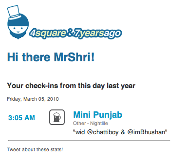 Last year was as EPIC… just making it better. Thanks 4squareand7yearsago.com