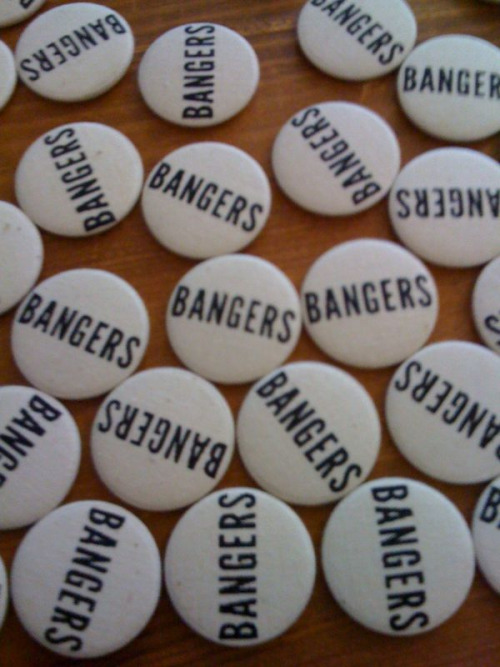 Bangers are making some badges from some screenprinted fabric we printed for them
