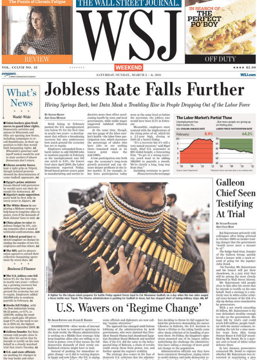 frontpages: U.S. Jobless Rate Falls Further Galleon Chief Seen Taking Stand at Trial U.S. Wavers on 'Regime Change'  Photo made all the more effective due to the rebel's choice of accessories.
