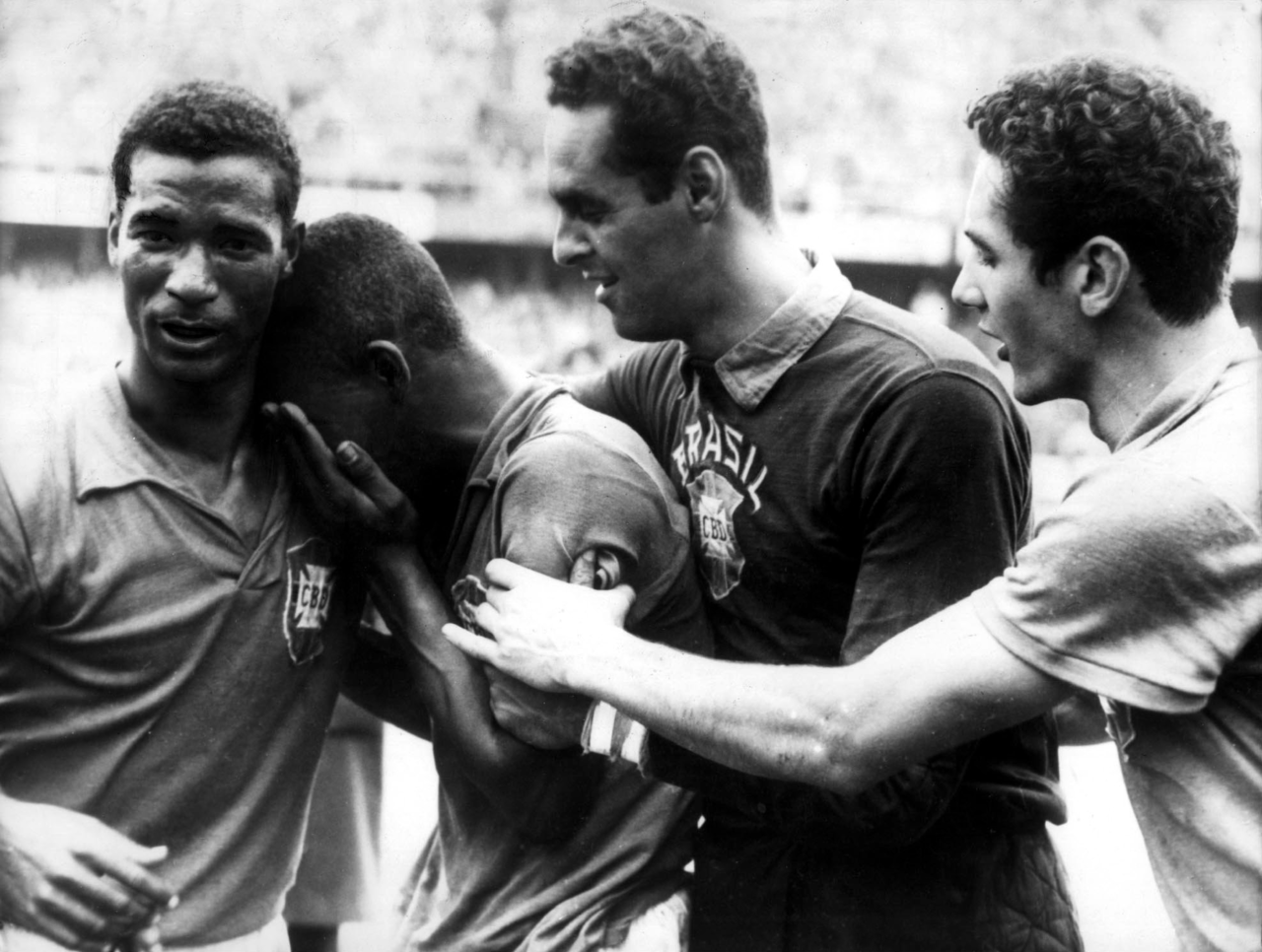 17-year-old Pele weeping with joy after the 1958 World Cup final.