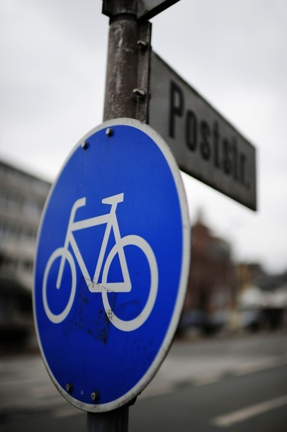 A traffic sign indicating 'bicycle path' can be seen on the side of a street on February 11, 2011 in Duisburg, western Germany. (via Photo from Getty Images)
