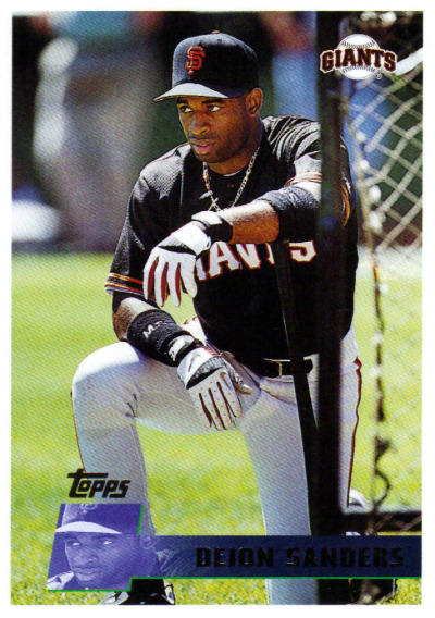 Deion Sanders during his short stint with the Giants. This card courtesy of @CardboardGerald