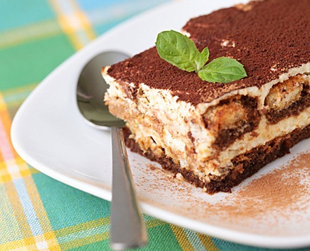 simplerecipes:  Tiramisu 3 egg yolks 1/2 cup and 2 tablespoons white sugar 1/2 cup and 2 tablespoons mascarpone cheese 3/4 cup and 2 tablespoons heavy whipping cream 1 (12oz) package ladyfingers 1/3 cup coffee-flavored liqueur, or strong coffee 1 tablespoon unsweetened cocoa powder, for dusting 1 (1oz) square semisweet chocolate Combine egg yolks and sugar in the top of a double boiler. Reduce heat to low, and cook for about 10 minutes, stirring constantly. Remove from heat and whip yolks until thick and lemon colored. Add mascarpone to whipped yolks. Beat until combined. In a separate bowl, whip cream to stiff peaks. Gently fold into yolk mixture and set aside. Line the bottom and sides of a large glass dish with the ladyfingers. Brush with coffee liqueur or strong coffee. Spoon half of the cream filling over the lady fingers. Repeat ladyfingers, coffee and filling layers. Garnish with sifted cocoa powder and/or shaved chocolate. Refrigerate several hours or overnight. via The Comfort of Cooking