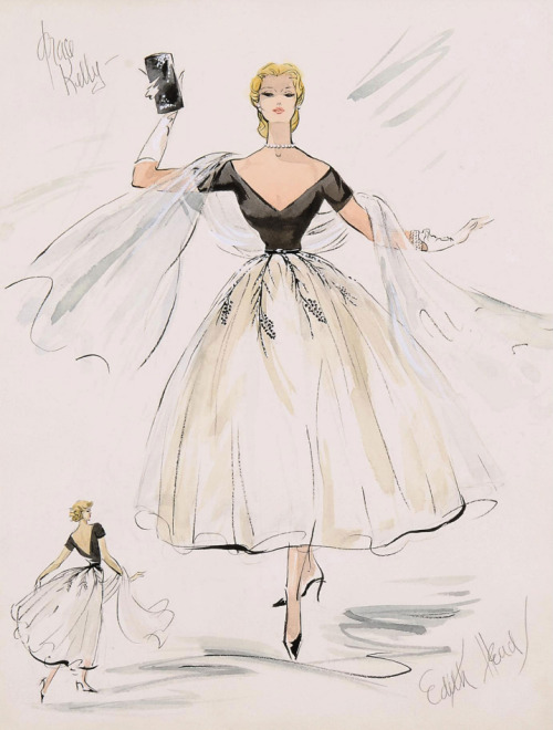 Costume design by Edith Head for Grace Kelly in Rear Window, 1954. From Christie's