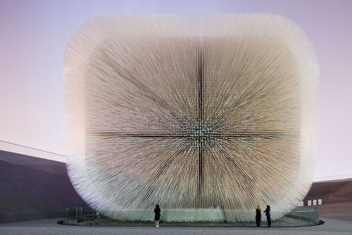 The UK Pavilion for the Shanghai 2010 Expo designed by Heatherwick Studio. Picture above shows the Seed Cathedral of the Pavilion which measures 20 metres high and is constructed of 60,000 transparent 7.5 metre long optical strands, each with a seed embedded within its tip.