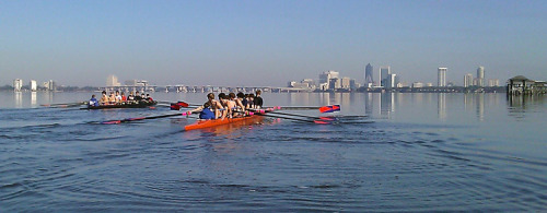 Bolles Crew takes advantage of flat water on the St. John's river in Jacksonville to get some early season miles in.