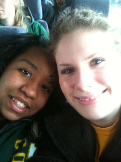 My roommie Alba and I are well on our way to the MAAC tournament in Bridgeport,CT!