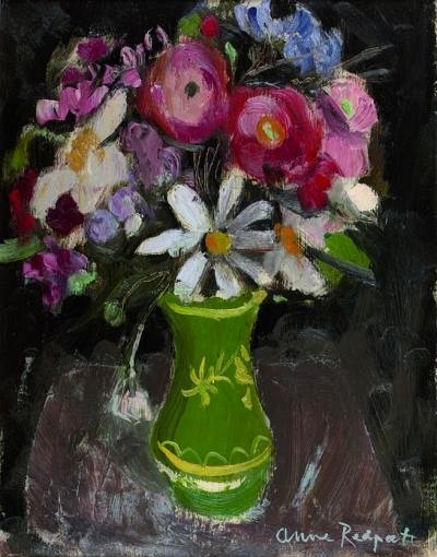 Anne Redpath Summer Flowers in a Green Vase Mid 20th century