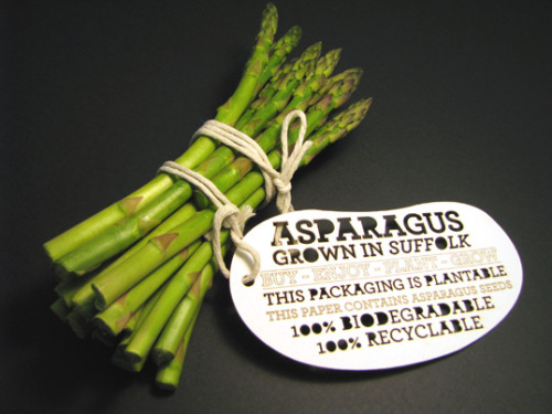 "typographie:  ""Through experimentation and innovation I have developed a form of packaging that is 100 percent biodegradable and recyclable. If the packaging is discarded it will have a positive effect on the environment due to the seed embedded biodegradable paper. The twine used to secure the product and label is natural cotton and 100 percent biodegradable."""