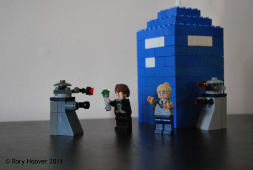 My brother made these out of LEGO. Two Daleks, The Doctor, Rose, and the T.A.R.D.I.S. :D http://devinhoo.deviantart.com/art/Lego-Doctor-Who-199880295