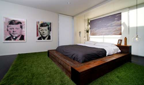 I want both the grass floor and the JFK posters. How weird would this be in Manhattan?  interiordecline:  Alexis Hadjopulos, the owner of the great vintage store, TINI (close to the Beverly Center in LA), has a home tour up.. check it out