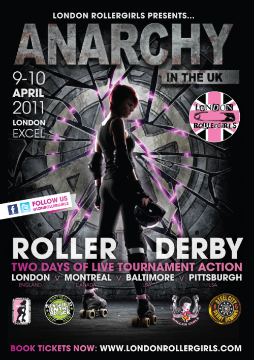 Charm still needs help fund raising to get to London too! wftda:  The flyer for Anarchy in the UK, the first-ever WFTDA-sanctioned tournament to be held outside North America. Epic tournament, stunning poster… and tickets are even on sale now!
