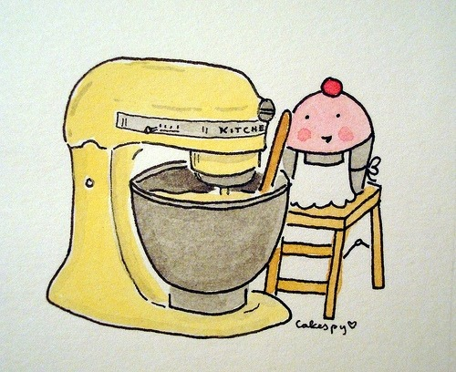 Cuppie with Canary Yellow Kitchen Aid Mixer on Flickr by cakespy