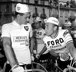 baltimorehorsescycling:  1966 Paris-Nice, Poulidor et Anquetil.