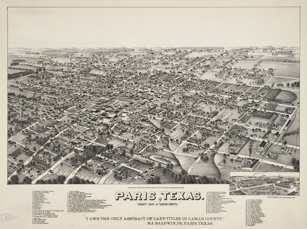 cartographymaps:  Beck & Pauli, 1885, Paris, Texas