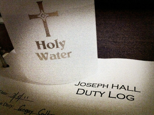 63/365 Holy Water Tonight I worked as a Residence Assistant (RA) in my dorm. The last thing an RA does before getting off duty is to bless every dorm room's door with holy water. It was neat.