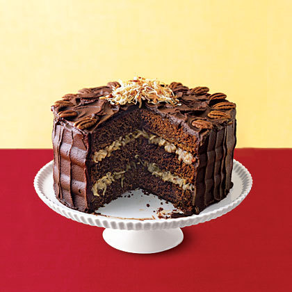 Pecan coconut triple layer chocolate cake.
