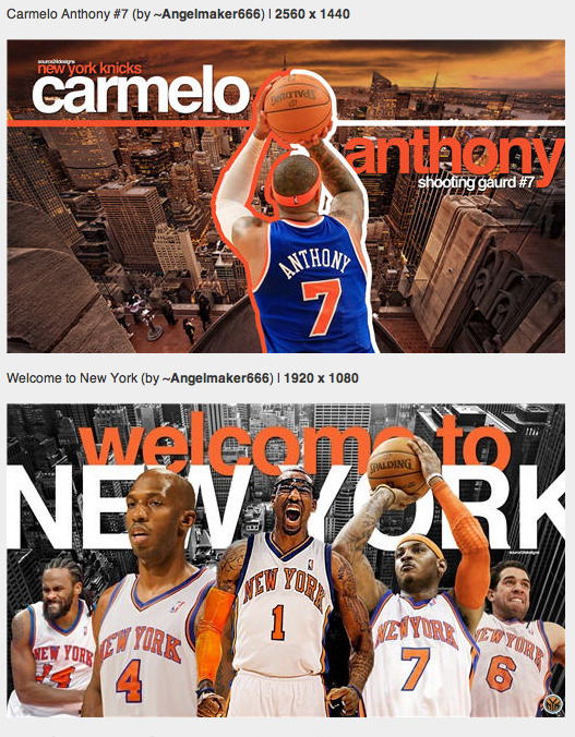 Find these and many more kick-ass Knicks wallpapers designed after the Carmelo Anthony trade.