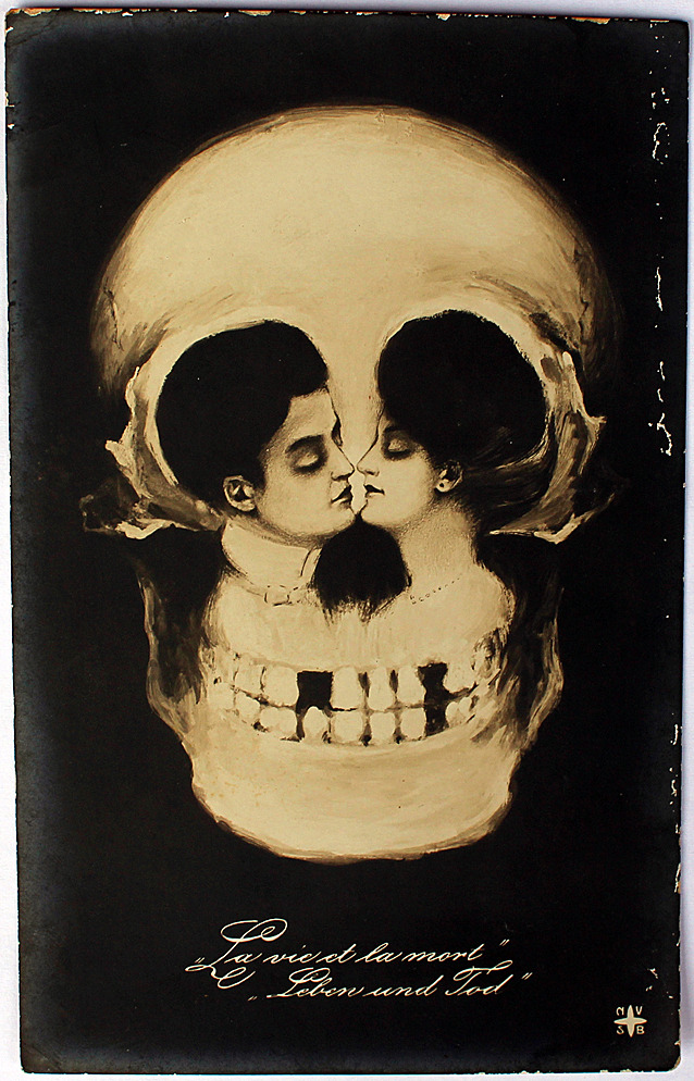 Antique Skull Optical Illusion Postcard