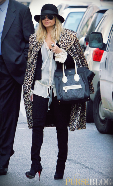 Nicole Richie carrying her Celine Luggage Tote while shopping in Paris (Source: ThePurseBlog)