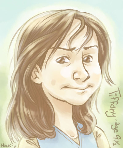 diananock:  A simple bust portrait of Tiffany Aching, as she appears in her first book The Wee Free Men. I based it on another margin doodle. It came out well, but I'm afraid it lost some of the character of the original pencils. I'd honestly love to get the chance to adapt the Tiffany Aching books to a series of YA graphic novels one day, so don't be surprised if you see more drawings of her from little ol' me.