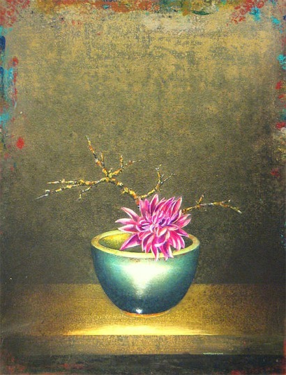 James Waterman Dahlia and Lichen Branch in Asian Bowl  2010