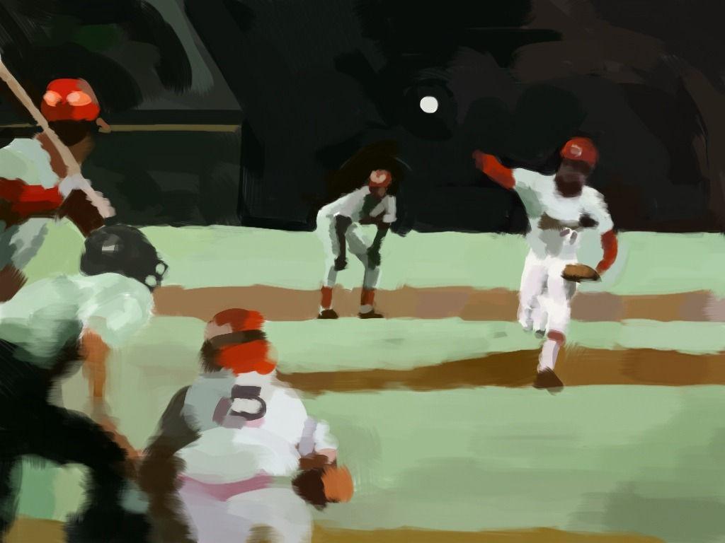 """Reds at Cardinals, July 17, 1974."" Drawn w/ the iPad app, Brushes. It's the top of the fourth, Cardinals up 4-2. Bob Gibson is pitching, Tim McCarver catching, Dave Concepción at bat, and Dan Driessen is on second. Concepción goes on to ground out, Driessen moving over to third. Up next, Ken Griffey doubles, and Driessen scores. The Reds tie the game in the sixth, and finally, in the twelfth, George Foster doubles, knocking in two runs, giving the Reds a 6-4 win."