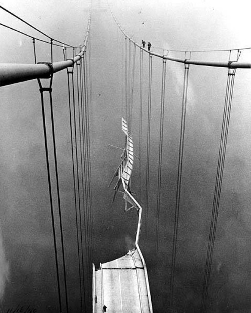 Tacoma Narrows Bridge after the Collapse.  Slender, elegant and graceful, the Tacoma Narrows Bridge stretched like a steel ribbon across Puget Sound in 1940. The third longest suspension span in the world opened on July 1st. Only four months later, the great span's short life ended in disaster, twisting to destruction in a wind storm.   Good judgment comes from experience, and experience comes from bad judgment.  —Barry LePatner