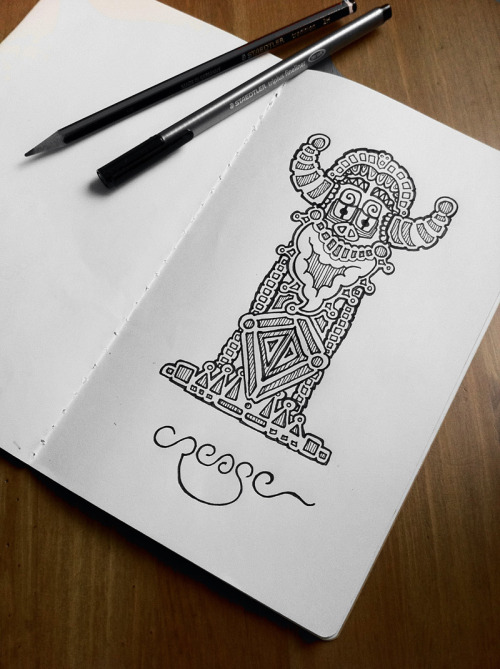 designersof:  Doodle Totem by Crease  We all need something to idolise and doodles are a religion that I can believe in and this tiki god totem doodle is the symbol of creativity that I have been waiting for. To the volcano for the sacrifice to seal the deal….
