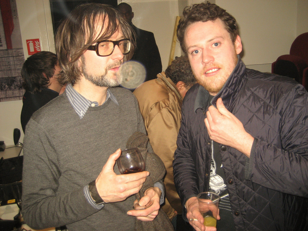 jarvis cocker and joseph mount from metronomy, apc party, le trianon, paris