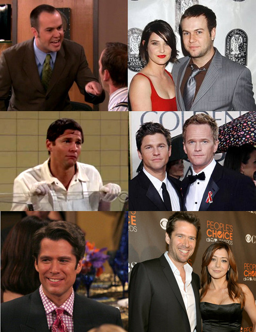 HIMYM real life couples and their appearances on the show. (via mikepopo:herecomesthebro)