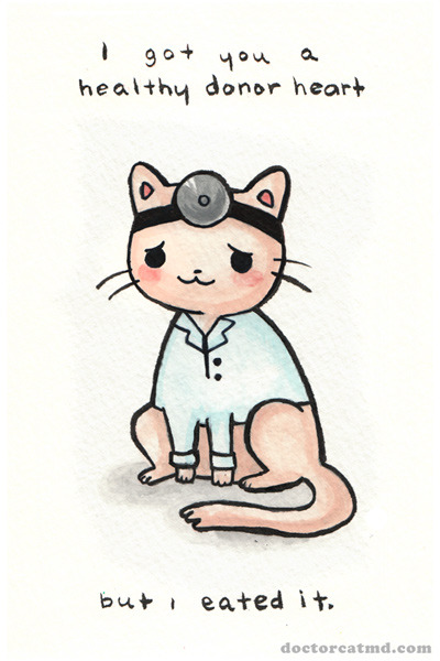 zuppadivetro:  randomphrases:  doctor cat postcard by dalia Bad kitty…  ,