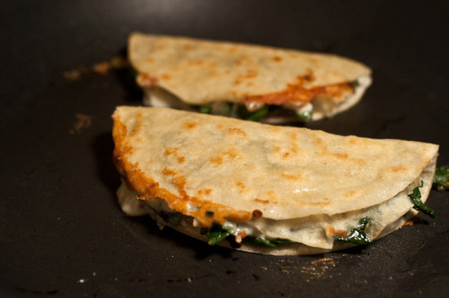 Collared Green Two Cheese Quesadillas. I made these the other night and they are deeeelicious.