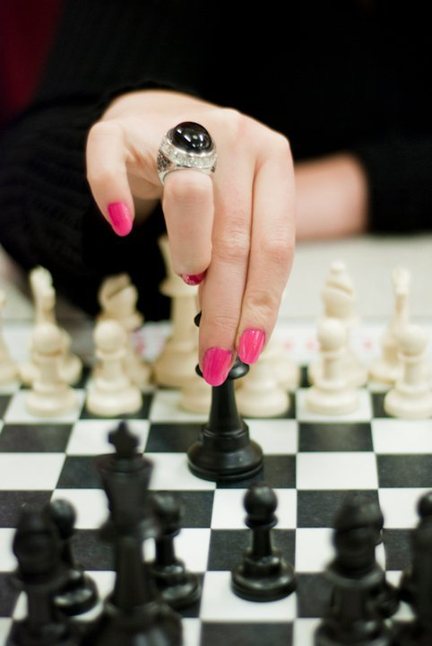 Hot pink! Playing around with the chess pieces at the ice cream shop. That is one of my favorite rings too!  Products Used:  OPI - That's Hot Pink Photo by:  C Wade Photography