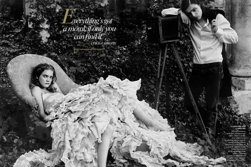 Vogue Alice in Wonderland inspired photoshoot: Olivier Theyskens as Lewis Carroll and Natalia Vodianova as Alice Liddell