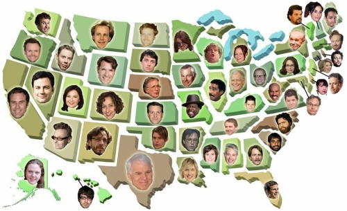 jonahray:    The United States Of Comedy: 50 Comedians From 50 States I'm the comic from Hawaii they chose for this thing. But in all honesty, would they really put Andy Bumatai, Frank Delima, or BUSTA' LOOSE on this? probably not.  (Dan Mintz should have been the ALASKA comic. And they switched Joel Mchale and Matt Braungers heads.)  Alabama - Vic Henley   Alaska - Haley Boyle   Arizona - Greg Proops   Arkansas - Bill Hicks   California - Will Ferrell   Colorado - Kristen Schaal   Connecticut - Lisa Lampanelli   Delaware - Aubrey Plaza   Florida - Daniel Tosh   Georgia - Jeff Foxworthy   Hawaii - Jonah Ray   Idaho - Ryan Hamilton   Illinois - Richard Pryor   Indiana - David Letterman   Iowa - Johnny Carson   Kansas - Jason Sudeikis   Kentucky - Chris Hardwick   Louisiana - Ellen DeGeneres   Maine - Bob Marley   Maryland - Lewis Black   Massachusetts - Conan O'Brien   Michigan - Mary-Lynn Rajskub   Minnesota - Mitch Hedberg   Mississippi - Tig Notaro   Missouri - Cedric the Entertainer   Montana - Dana Carvey   Nebraska - Dick Cavett   Nevada - Jimmy Kimmel   New Hampshire - Sarah Silverman   New Jersey - Jon Stewart   New Mexico - Marc Maron   New York - George Carlin   North Carolina - Zach Galifianakis   North Dakota - Ryan Karels   Ohio - Drew Carey   Oklahoma - Bill Hader   Oregon - Matt Braunger   Pennsylvania - Tina Fey   Rhode Island - Charlie Day   South Carolina - Aziz Ansari   South Dakota - Timmy Williams   Tennessee - Ralphie May   Texas - Steve Martin   Utah - Roseanne Barr   Vermont - Luis Guzman   Virginia - Patton Oswalt   Washington - Joel McHale   West Virginia - Steve Harvey   Wisconsin - Chris Farley   Wyoming - Jim J. Bullock   Nice that I work for my state's comedy person.