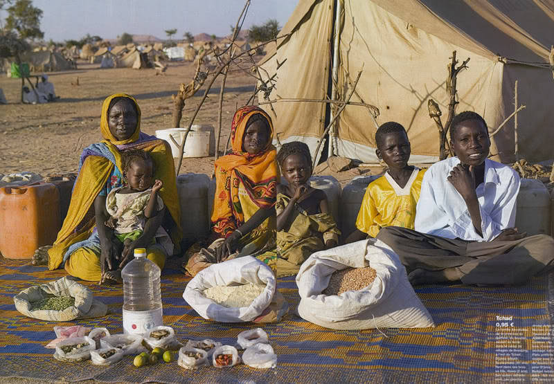 The Aboubakar family of Breidjing Camp in Chad.Food expenditure for one week: 685 CFA Francs or $1.23 Nothing speaks to me like this photo series. The families and their food. This famous photo of the Aboubakars (taken in 2006 I believe) inspired me to eat more legumes and beans over the past few years. I figured—if 6 of them can get by on ~ $1/week, I can definitely lower my expenses by working what's in those bags into my diet — crowding out the rich, expensive food (meats, pâté, cheese, hummus, butter, pre-made stuff). Always fighting the hedonic treadmill. Thanks, Aboubakars (and Peter Menzel). RELATED: Global Rich List, Angus Maddison's History of the World Economy, Hans Rosling's 2010 TED talk