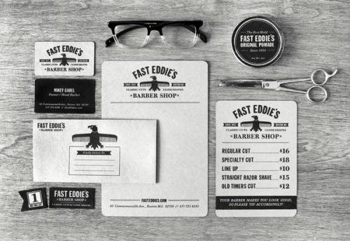 Fast Eddie's Barber Shop design collateral by Richard Arthur Stewart (via)