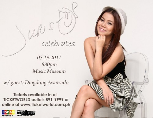 Catch Juris as she celebrates her first solo concert on March 19, 2011 at the Music Museum with guest Dingdong Avanzado.For ticket inquiries please call 721-6726; 721-0635 / Music Museum
